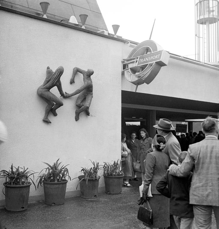The Sunbathers on the north wall of Station Gate at the Festival of Britain (17 May 1951). Photo: PA Images