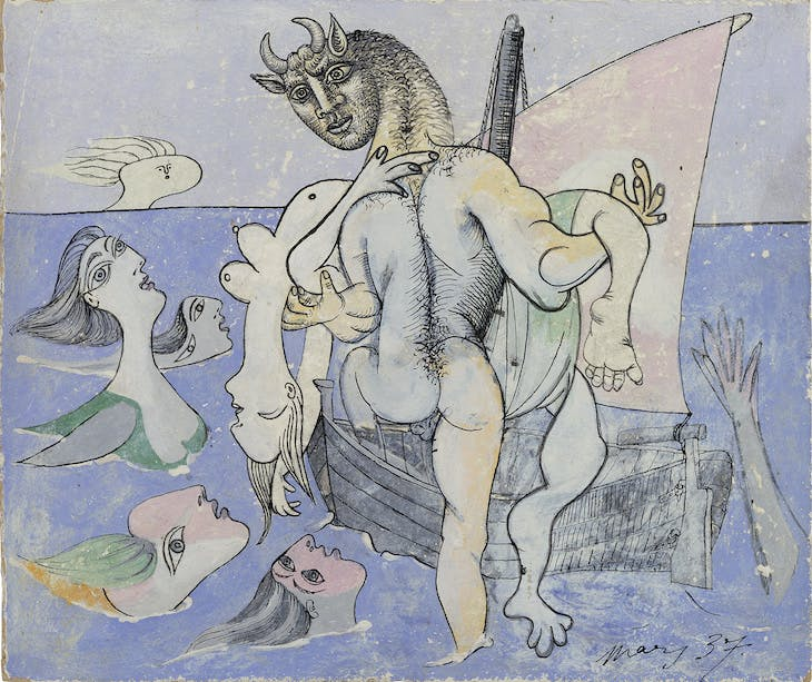 Minotaure dans une barque sauvant une femme (1937), Pablo Picasso. Private collection. Photo: Eric Baudouin; Courtesy Gagosian; © 2017 Estate of Pablo Picasso / Artists Rights Society (ARS), New York
