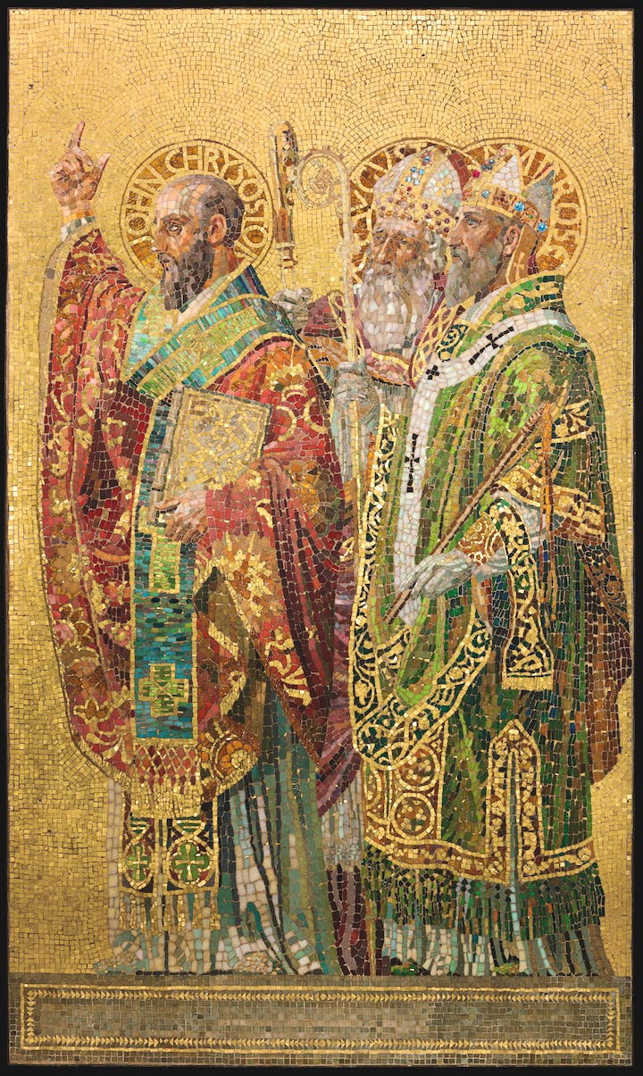 Fathers of the Church (panel; c. 1892), Tiffany Glass and Decorating Company, designed by Joseph Lauber. © The Neustadt Collection of Tiffany Glass, Queens, New York