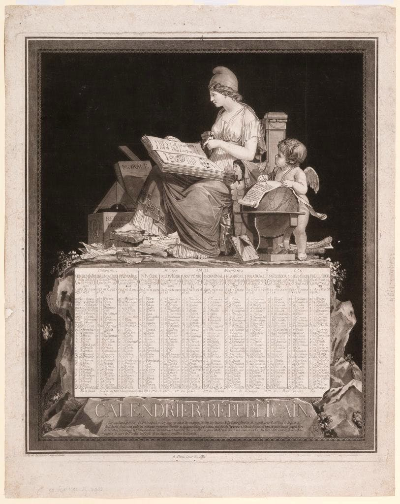 'Republican calendar' almanac (1794), Philibert Louis Debucourt.