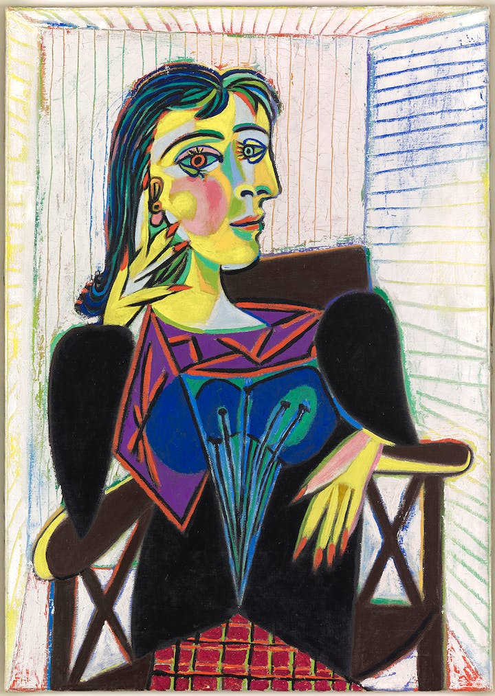 Portrait of Dora Maar (1937), Pablo Picasso. Photo: Mathieu Rabeau © RMN-Grand Palais / Art Resource, NY © 2017 Estate of Pablo Picasso / Artists Rights Society (ARS), New York