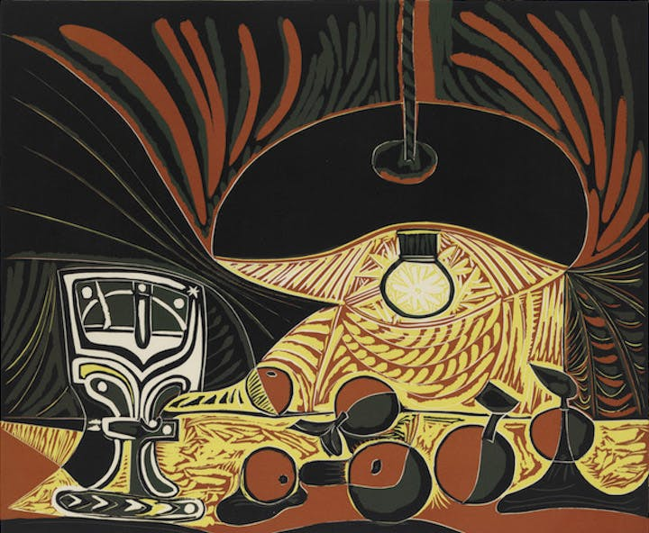 Still Life with Glass Under the Lamp (detail; 1962), Pablo Picasso. © 2017 Estate of Pablo Picasso / Artists Rights Society (ARS), New York
