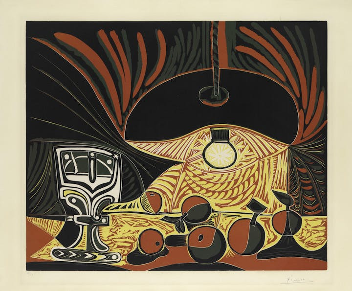 Still Life with Glass Under the Lamp (1962), Pablo Picasso. © 2017 Estate of Pablo Picasso / Artists Rights Society (ARS), New York