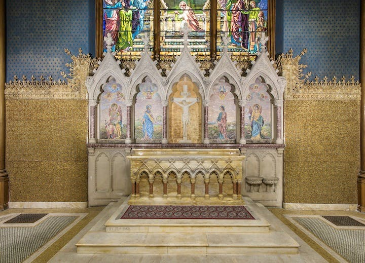 Reredos, produced by Tiffany Glass Company or Tiffany Glass and Decorating Company, designed by Jacob Adolphus Holzer in 1891. Courtesy of The Corning Museum of Glass