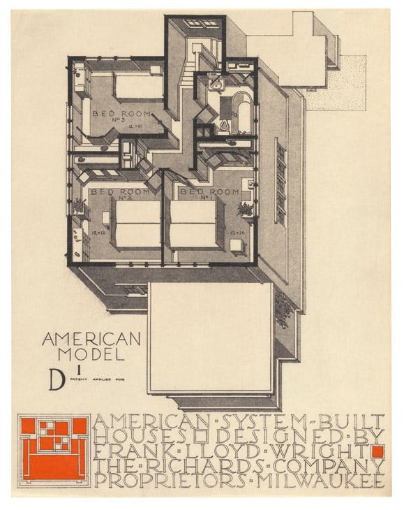 Axonometric view of model D1 in the American System-Built (Ready-Cut) Houses project (1915–17), Frank Lloyd Wright. Museum of Modern Art, New York. © 2017 Frank Lloyd Wright Foundation/Artists Rights Society (ARS), New York