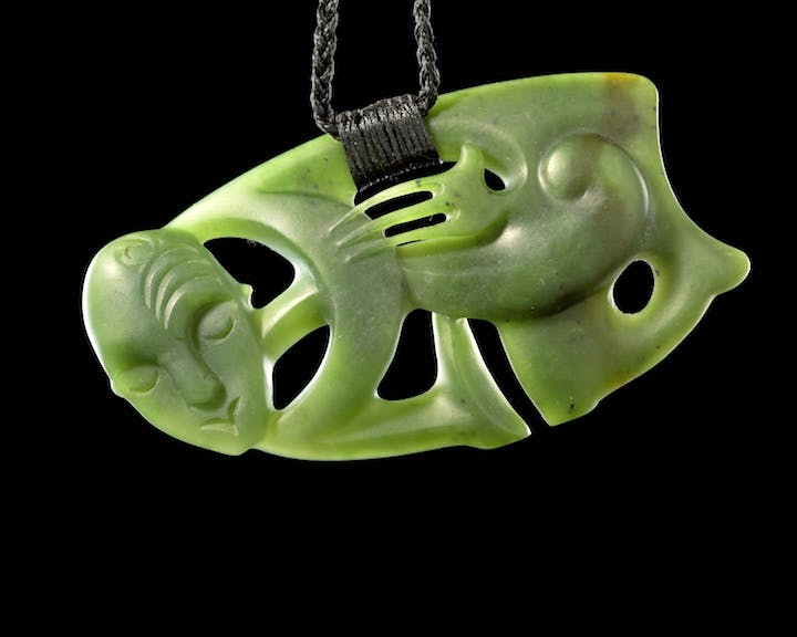 A Hei Tiki anthropomorphic pendant produced in 2008. © Kura Pounamu marketing images Te Papa