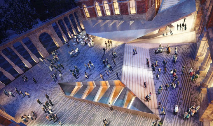 The V&A's exhibition Road Quarter is designed by Amanda Levete Architects. © AL_A