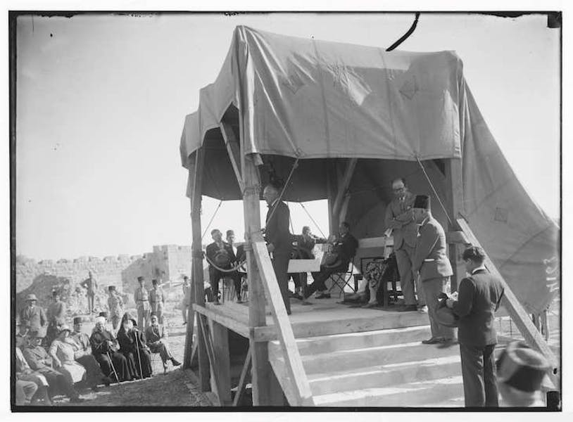 Sir John Chancellor laying the foundations stone of the Rockefeller Museum in Jerusalem, June 1930. Library of Congress Prints and Photographs Division, Washington, D.C.