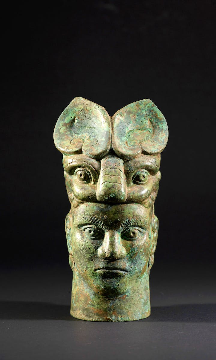 Column in the form of a face, Western Zhou Dynasty (1050–771 BC). © Shanghai Museum