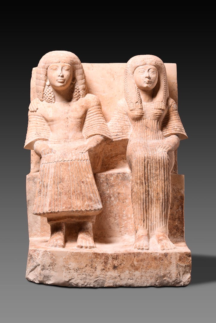 Double statue of Nefer-hor and his wife (c. 1292-1070 BC). © Egyptian Museum and Papyrus Collection, Staatliche Museen zu Berlin