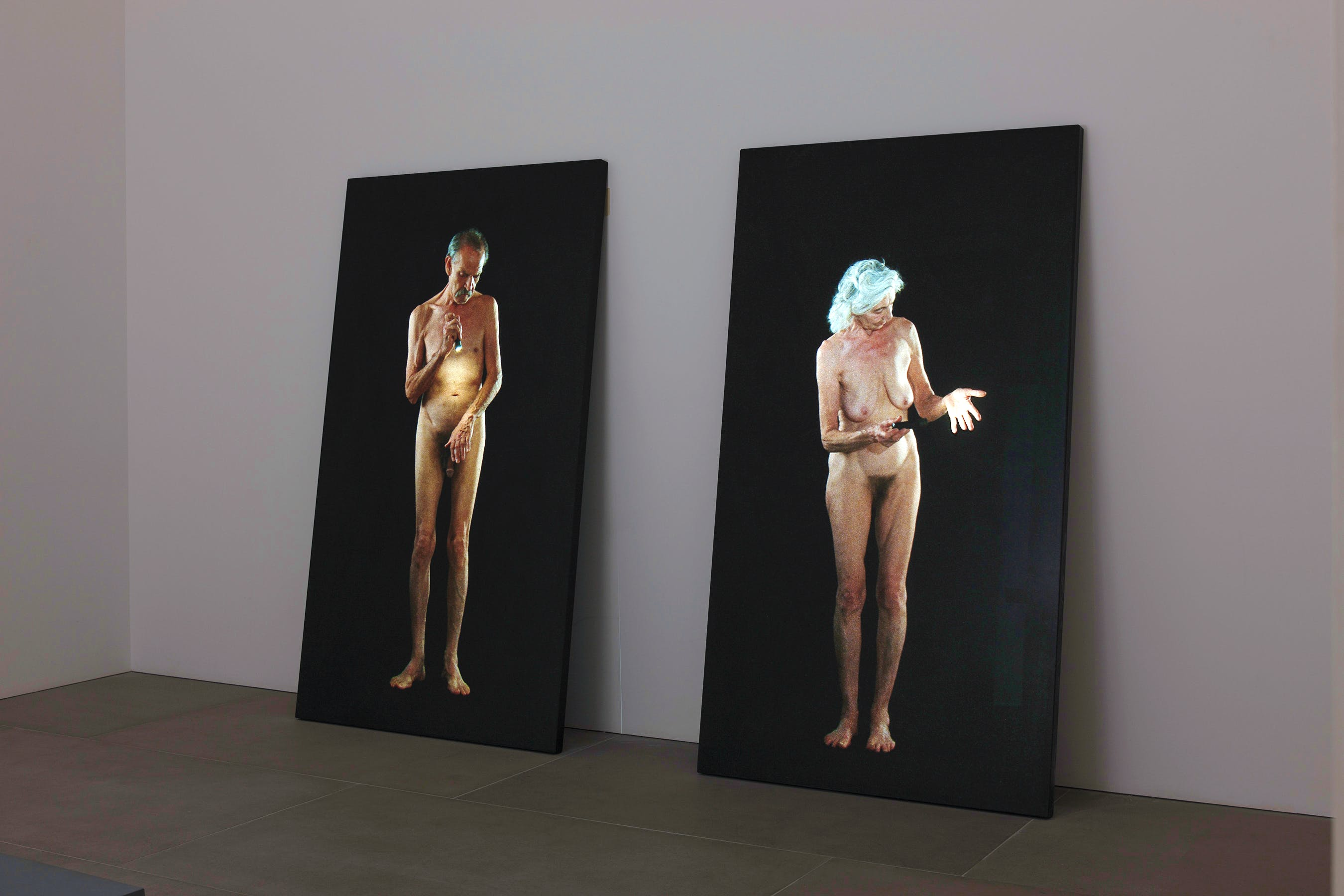 Man Searching for Immortality/Woman Searching for Eternity (installation view; 2013), Bill Viola. Courtesy Bill Viola Studio and Blain|Southern, London