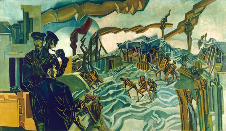 A Battery Shelled (1919), Wyndham Lewis. © IWM