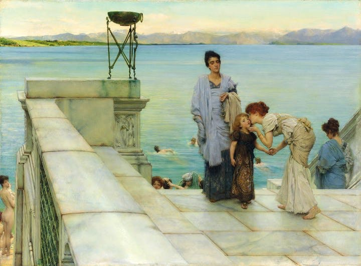 A Kiss (1891), Sir Lawrence Alma-Tadema. © Private Collection of Martin Beisly