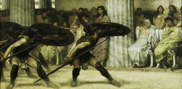 A Pyrrhic Dance (1869), Sir Lawrence Alma-Tadema. © Guidhall Art Gallery, City of London