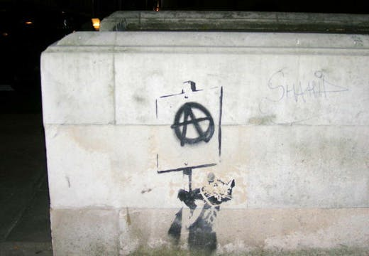 A anarchist rat by Banksy in Sloane Square, London.
