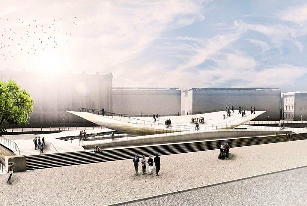 Rendering of the 'Citizens in Motion' monument in Berlin,© Milla & Partner