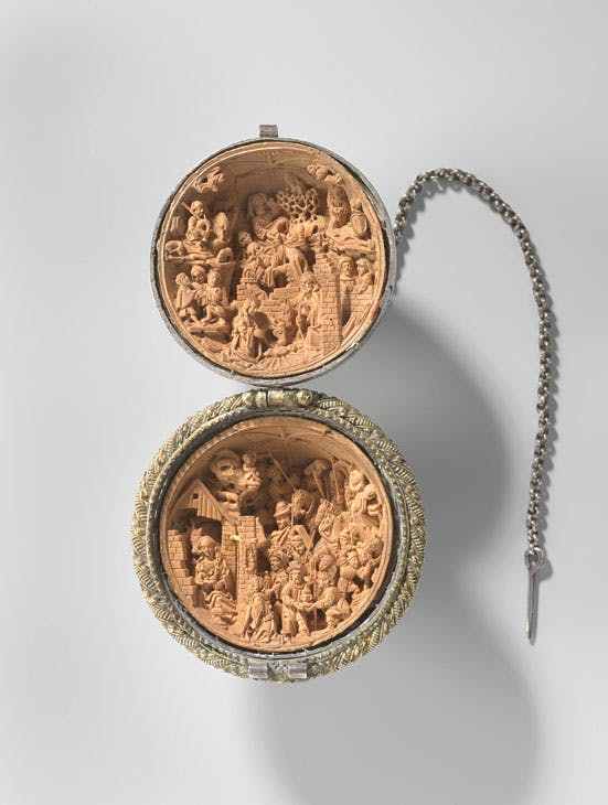 Prayer nut with The Nativity and The Adoration of the Magi (c. 1510–25), Adam Dircksz and workshop