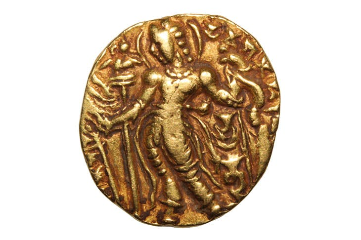 Dinar, showing Chandragupta II (376–415) with a strung bow and arrow (n.d.), India, Gupta dynasty. © Fitzwilliam Museum, Cambridge