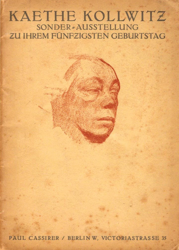 Catalogue for Käthe Kollwitz's special 50th birthday exhibition. Käthe Kollwitz Museum Berlin