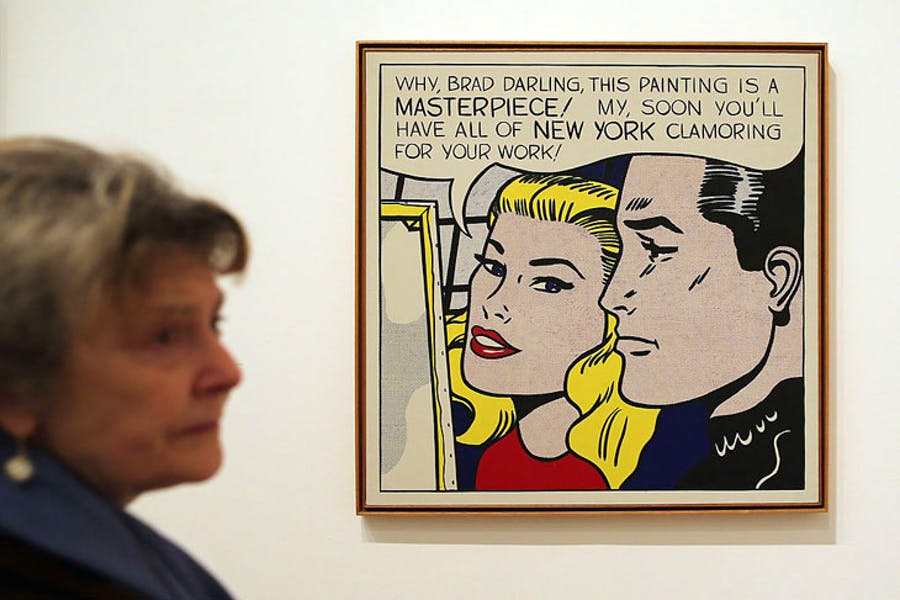 Roy Lichtenstein's 'Masterpiece' (1962; seen here at Tate Modern's 'Lichtenstein, a retrospective' exhibition in 2013) has been sold for $165 million to set up the new 'Art for Justice Fund' in support of criminal justice reform. Photo: Dan Kitwood/Getty Images