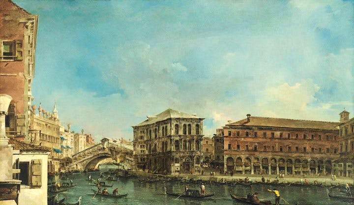 The Rialto Bridge with the Palazzo dei Camerlenghi (mid 1760s), Francesco Guardi. Christie's London: estimate £25m+