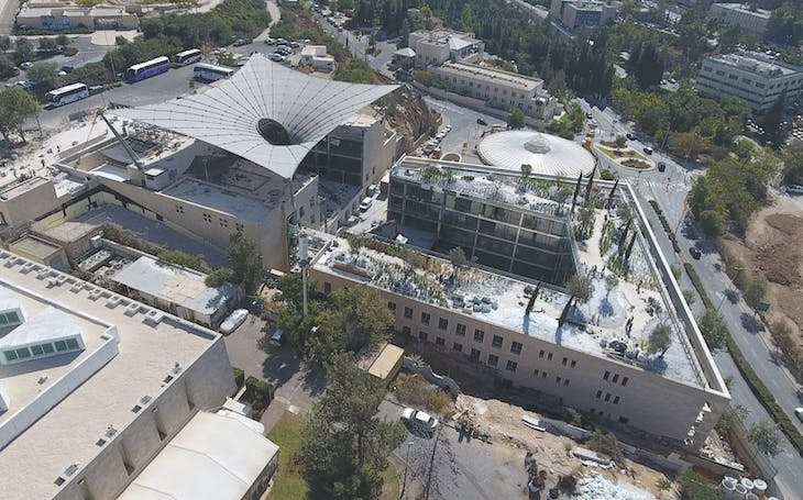 Aerial view of the Jay and Jeanie Schottenstein National Campus for the Archaeology of Israel. Photo: Ardon Bar-Hama