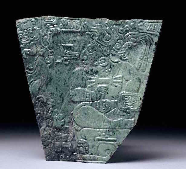 Jade plaque showing a seated king and palace attendant, 600–800 AD, Maya, Mexico, Teotihuacan. British Museum, London