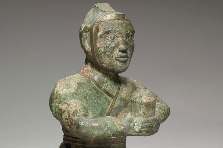 (Detail) Kneeling figure, 4th century BCE, bronze. Photo: Minneapolis Institute of Art