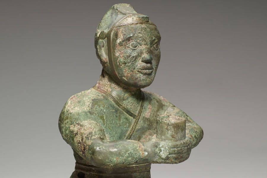 (Detail) Kneeling figure, 4th century BCE, bronze. Photo: Minneapolis Institute of Art