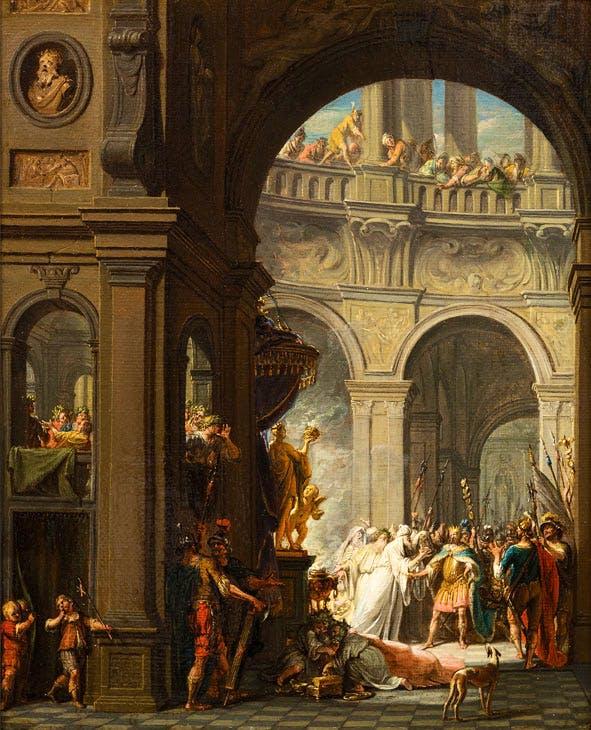Jéroboam puni pour avoir adoré les faux Dieux (1731), Jacques Ignatius de Roore. Franck Baulme at Paris Tableau Brussels