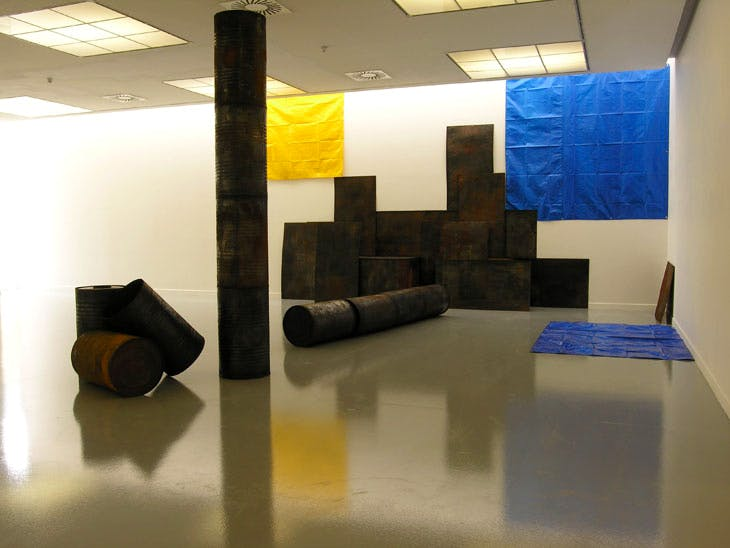 Kagebangara (2008), Sheela Gowda. Installation view at Mukha, Antwerp. Photo courtesy the artist