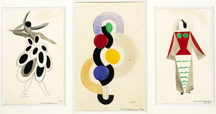 Three designs: Costume n. 1540 for the Vedette Gaby, Petit Casino (1919); Simultaneous Dress, Rhythm Without End, n. 510 (1923), Costume n. 1529 for the play The Gas Heart, by Tristan Tzara (1923); all produced by Sonia Delaunay. Private Collection. © Pracusa 2017633