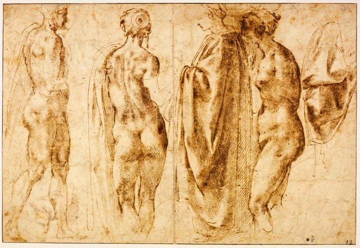 Groupe de quatre figures debout et un drapé, by Michelangelo. Chantilly, musée Condé, ©RMN (Domaine de Chantilly) / Michel Urtado