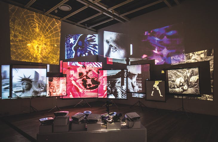 Movie Mural (1965–68), Stan VanDerBeek. The Box. Courtesy of the artist's estate and The Box
