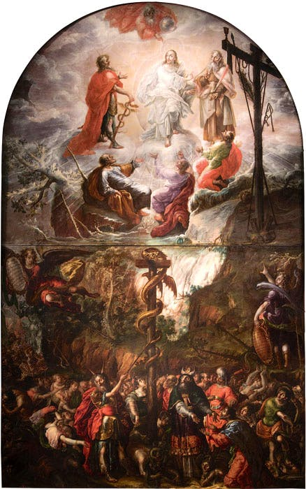 Moses and the Brazen Serpent and the Transfiguration of Jesus (1683), Cristóbal del Villalpando. Col. Propiedad de la Nación Mexicana