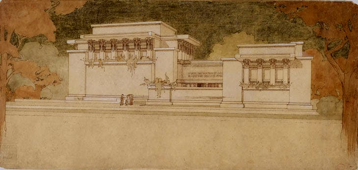 Unity Temple, Oak Park, Illinois (1905–08), Frank Lloyd Wright. The Frank Lloyd Wright Foundation Archives (The Museum of Modern Art | Avery Architectural & Fine Arts Library, Columbia University, New York)