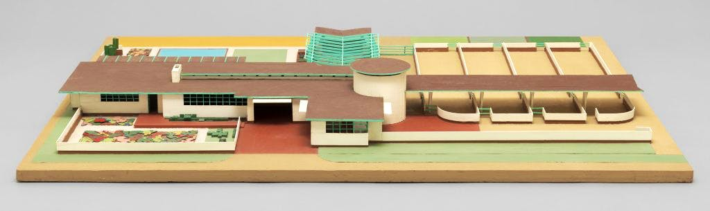 Model of Frank Lloyd's Wright 1932–33 Farms Unit project for Walter V. Davidson. The Frank Lloyd Wright Foundation Archives