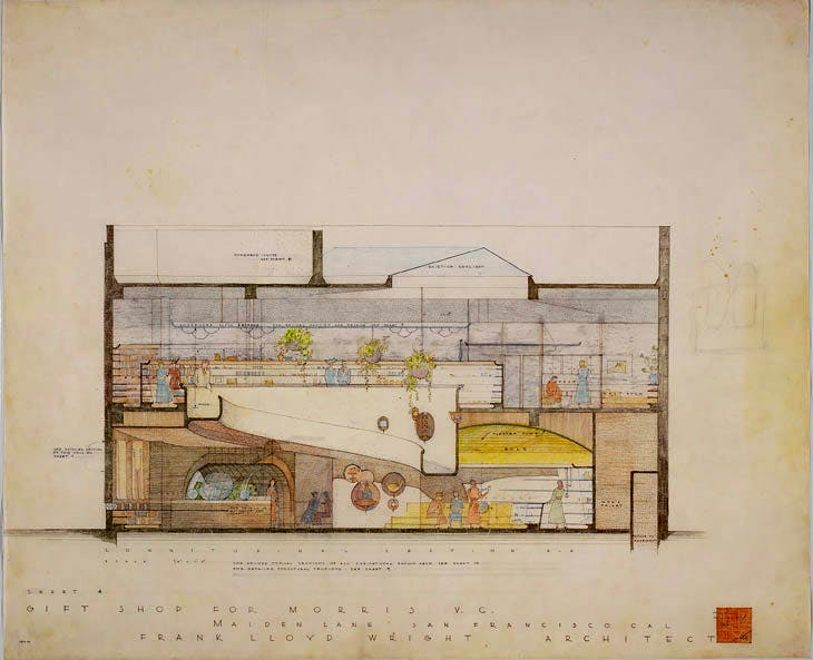 V.C. Morris Shop, San Francisco (1948–49), Frank Lloyd Wright. The Frank Lloyd Wright Foundation Archives (The Museum of Modern Art | Avery Architectural & Fine Arts Library, Columbia University, New York)