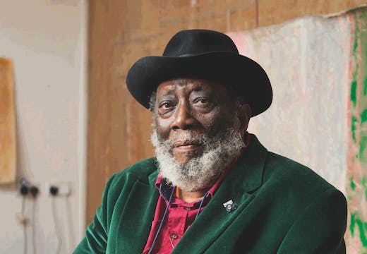 Frank Bowling, photographed in his studio in London in April 2017.