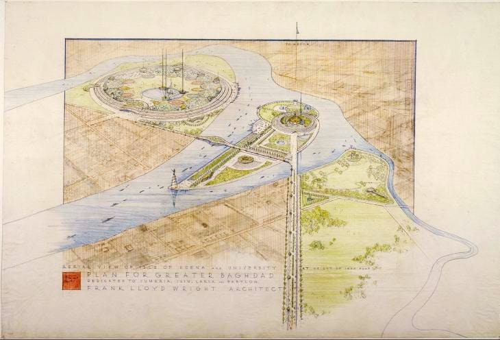 Frank Lloyd Wright's unbuilt 1957–58 plan for Greater Baghdad. The Frank Lloyd Wright Foundation Archives, New York