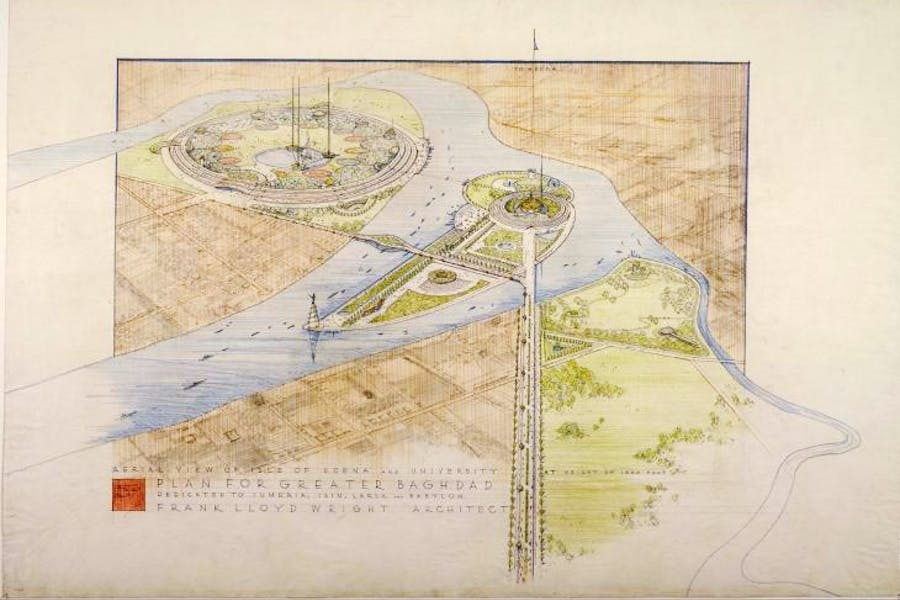 Frank Lloyd Wright's unbuilt 1957–58 plan for Greater Baghdad. The Frank Lloyd Wright Foundation Archives, New York