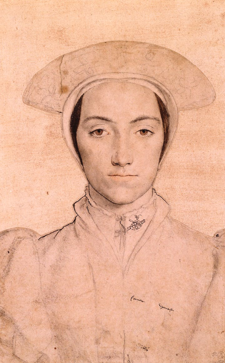 Woman wearing a white headdress (c. 1532–43), Hans Holbein the Younger. Royal Collection Trust. © Her Majesty Queen Elizabeth II, 2017