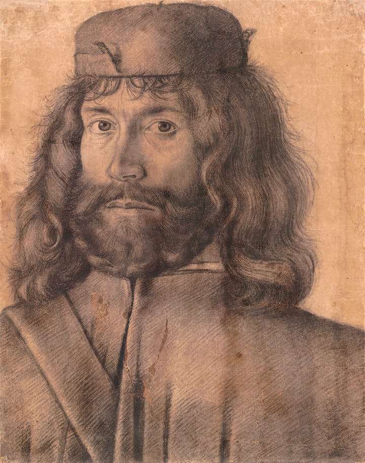 Man with shoulder-length hair wearing a cap (c. 1500), unknown Venetian artist. © The Trustees of the British Museum