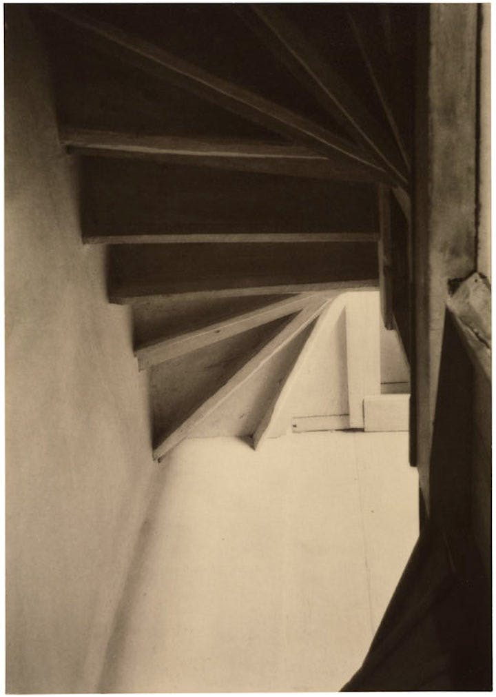 Doylestown House – Stairs from Below (1916–17), Charles Sheeler. © The Lane Collection; courtesy of Museum of Fine Arts, Boston