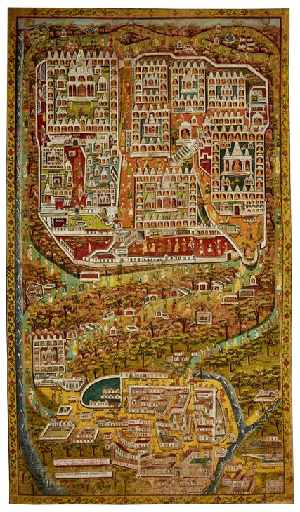 Jain pilgrimage map of Satrunjaya (c. 1925–26), Palitana, Gujarat, India. Kapil Jariwala Gallery. Photo: Mark Colliton
