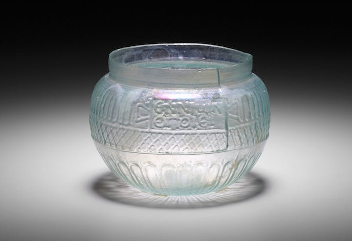 Roman bowl, Eastern Mediterranean, possibly Syrian, signed by Ennion, mid-1st century A.D., mold-blown glass.