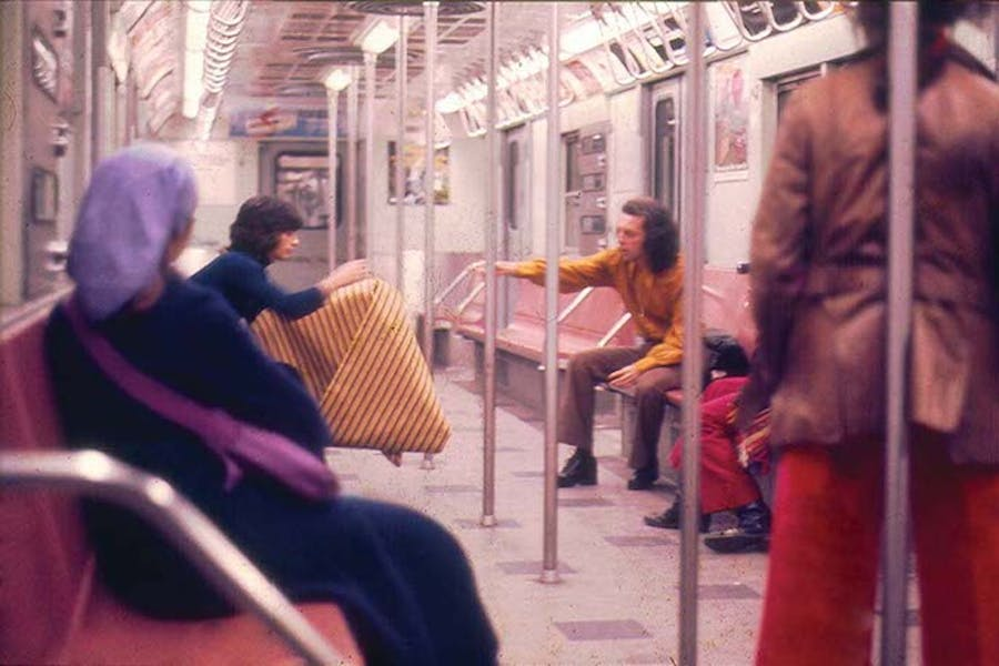 Parangolé Cape 30 in the New York City Subway (1972), courtesy of César and Claudio Oiticica, Rio de Janeiro