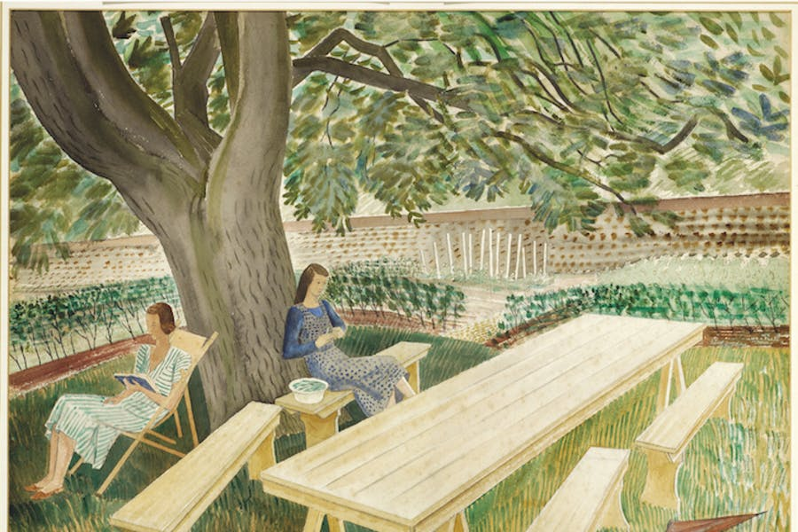 Two Women Sitting in a Garden (showing Charlotte Epton and Tirzah Garwood in the Brick House garden) (1932), Eric Ravilious. Fry Art Gallery, Saffron Walden