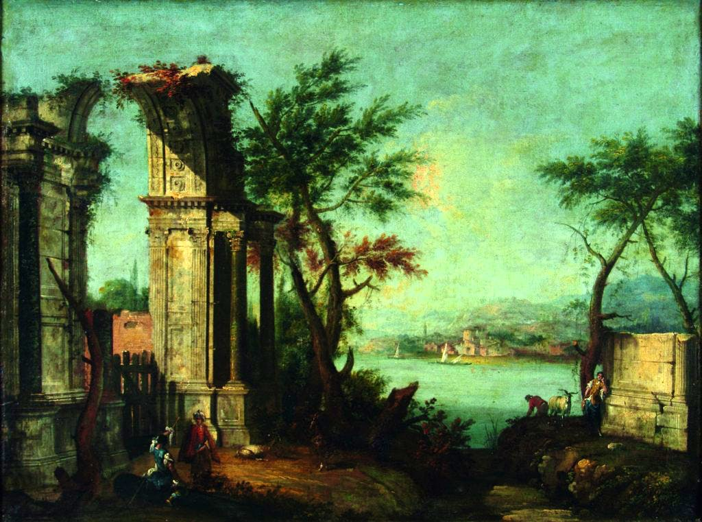 Ancient ruins and figures in front of a lake, (c. 1740), Michele Marieschi, Musée d'Art et d'Archéologie, Laon.