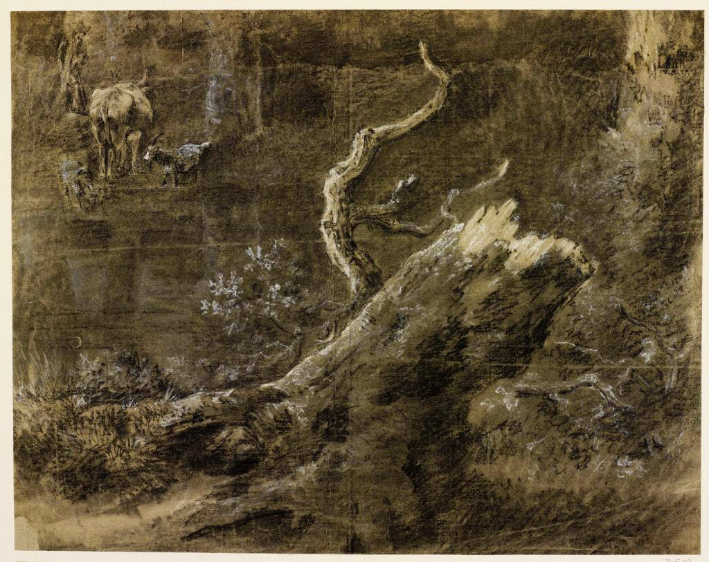 A Broken Tree-stump with a Peasant, and a Cow and Two Goats, (c. 1745–c. 1755), Thomas Gainsborough, Royal Collection Trust/© Her Majesty Queen Elizabeth II 2017